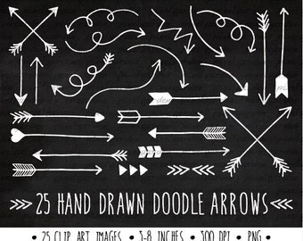White Arrows Clip Art Set. Hand Drawn Arrows Clipart. Chalkboard Doodle Arrows. Tribal Arrow Images. White, Chalkboard Clipart (0005)
