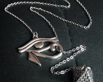 Silver Egyptian Eye of Horus & Pyramid Lariat Pendant Necklace--Stainless Steel Chain // Egypt