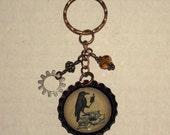 Beaded Bottlecap Keychain - Raven
