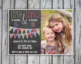twins birthday invitation joint birthday party invite  etsy, Birthday invitations