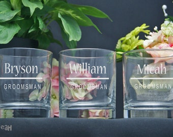 Etched Rocks Glasses / Personalized Groomsmen Gifts / Custom Wedding Party Glasses / Set of 6 / 16 Designs!