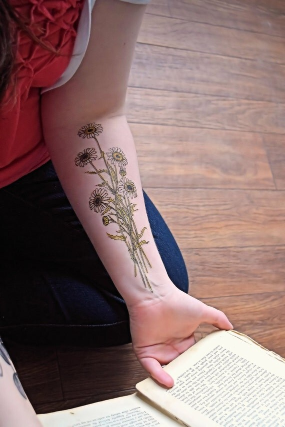 Temporary tattoo vintage floral flower bohemian style for Floral temporary tattoos