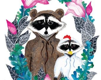 Cute Raccoons in disguise Art Print. Nursery wall art, nursery art print, nursery art animals, kids room decor, kids art, watercolor print