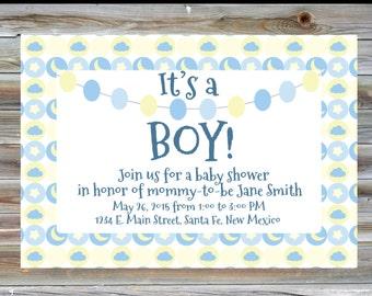 Moon Theme Baby Shower Invitation - Printable Digital Baby Boy Shower Invitation - Moon Theme Boy Baby Shower Invite