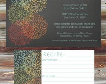 Kitchen Bridal Shower Invitation with Matching Recipe Card - Floral Theme Kitchen Bridal Shower - Stock the Kitchen Bridal Shower Invite