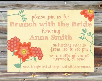 Floral Bridal Brunch Invitation - Floral Theme Bridal Brunch Invite - Personalized Bridal Tea Party - Custom Brunch with the Bride Invite