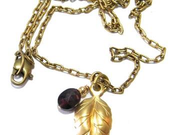 Birthstone Necklace, January Birthstone Necklace, Leaf Necklace, Garnet Birthstone, Gold Birthstone Necklace,