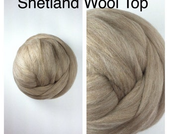 Fawn Shetland Wool Top Undyed / Natural Shetland Roving / Shetland Felting / 2oz 4oz 8oz