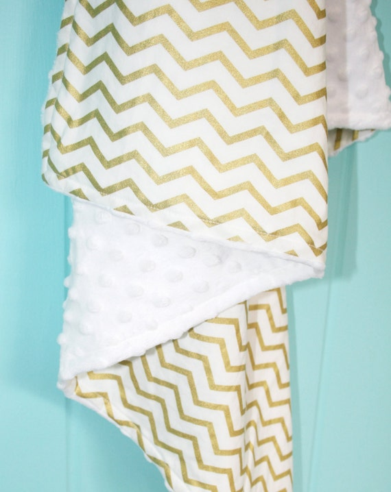 white and gold chevron print baby blanket minky backing