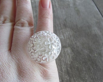 Groovy Clear White Lucite Flower Ring - Adjustable, Made from Vintage Button