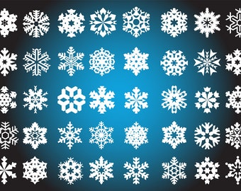 40 Digital Snowflakes Winter Christmas Clipart Scrapbooking Invitations Printable Digital Graphics Commercial Use INSTANT DOWNLOAD 300 dpi