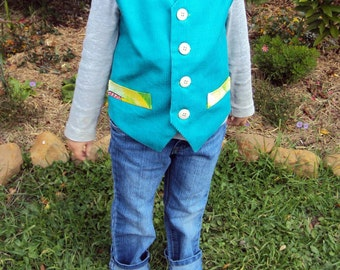 Green Corduroy Waistcoat lined with gorgeous Thomas fabric! Size 4