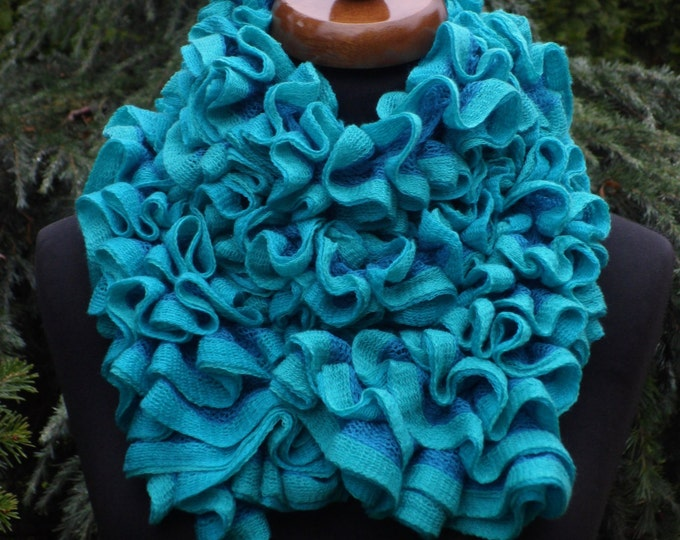 Ruffle scarf, Frilly scarf, Knitted scarf, Blue, green, turquoise scarf, Fashion scarf, Mother's Day gift, Spring Accesories, Clearance sale