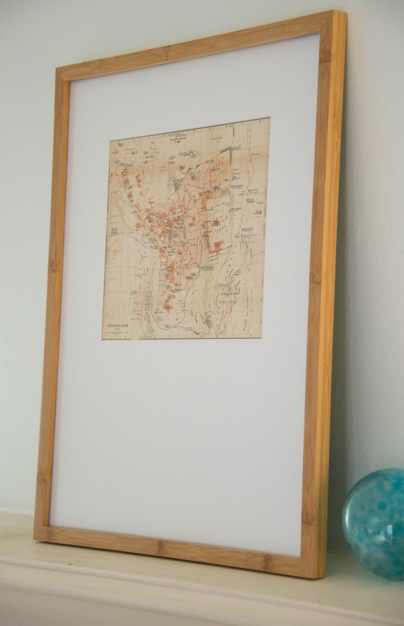 Framed 1906 Jerusalem Israel Antique Map