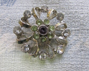 Upcycled 1950s silver-tone flower brooch, clear, green & amethyst diamanté