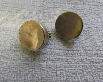 1960s silver-tone concave disc clip-on earrings