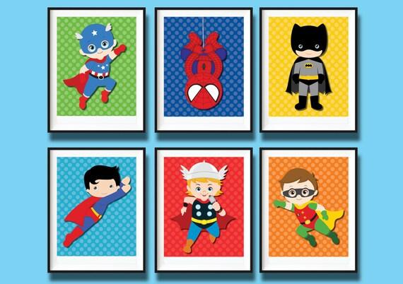 6x superhero nursery art prints wall decor by redapplestudio for Superhero wall art