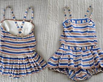 Vintage 1950s Catalina Swimsuit- Stripe- Sunbather- Bombshell- 50s Bathing Suit- Playsuit