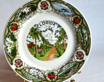 Vintage Florida Souvenir Plate Vintage Florida Hanging Plate Tropical Palm Trees