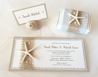 Beach Sea Star/Starfish Invitation with Burlap and Pearls, Free Matching Envelope {MARISTELLA}