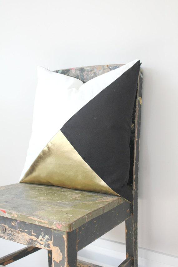 Geometric Black White & Metallic Gold Pillow by northwestdecor