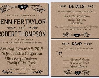Rustic Wedding Invitation set, Rustic Wedding Invitation printable, Wedding Invitation set printable, Wedding Invitation rustic. printable