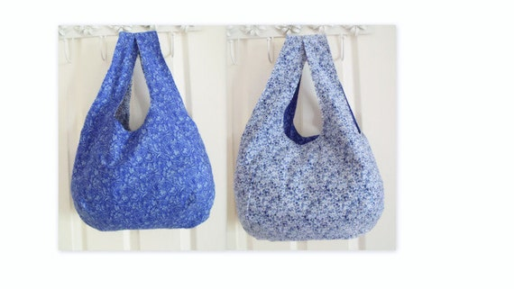 cotton tote bag , Reversible festival boho slouch shoulder bag, versatile bag for holidays, cotton carry all, ditsy print blue floral fabric