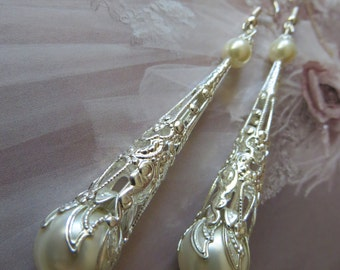 IVORY PEARL EARRINGS Silver Brides Cream Jewellery jewelry Weddings Bride Vintage Bridal Gift Filigree Woman Long Drop Gift Her White Dangle