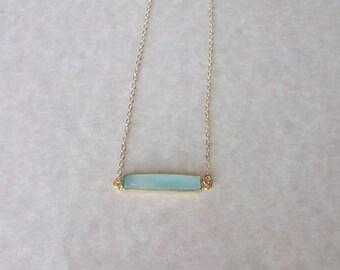 Gemstone Necklace/Chalcedony Pendant/Aqua Gemstone Bar Necklace/Unique Bar Necklace/Aqua Chalcedony Bar Necklace/Layering Necklace/BA016