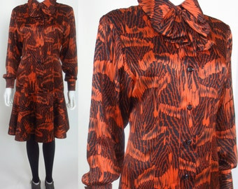 60s Robert Courtney streetstyle star ethno-printed silk dress
