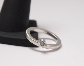 Modern Sterling Silver Wedding Ring/Ring/Stackable Ring with Blue Semi Precious Stone -Matte Finish