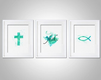 Watercolor Art Print Religious Have Faith Art Print Set of 3 Modern 5x7 8x10 11x14 Wall Art Decor Illustration Gift Art Print Christian Wall