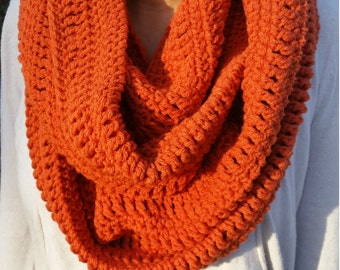 Pumpkin Infinity Scarf, Orange Infinity Scarf, Pumpkin Scarf, Orange Scarf, Pumpkin Crochet infinity Scarf, Orange Crochet Infinity Scarf