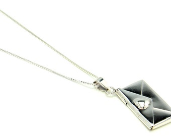 Sterling Silver Envelope Locket Necklace  Free Shipping ! Free Gift Bag !