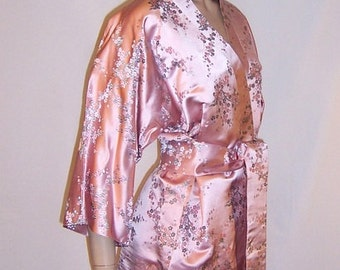 Luscious Pink Embroidered Silk Lounging Ensemble-Hong Kong British Crown Colony
