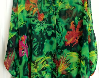 Escada Hawaiian Jungle Print Kaftan / Sun Shirt