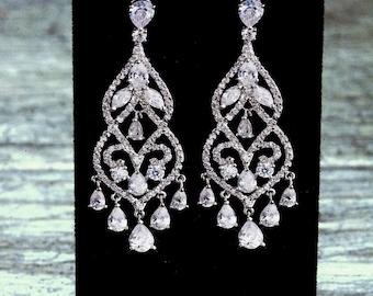 Heirloom Chandelier Earrings, Crystal Earrings, Bridal Earrings, Long Bridal Earrings, Statement Earrings, Wedding Jewelry, Wedding Earrings
