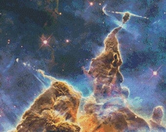 Space Cross Stitch Pattern, Carina Nebula, Digital Download