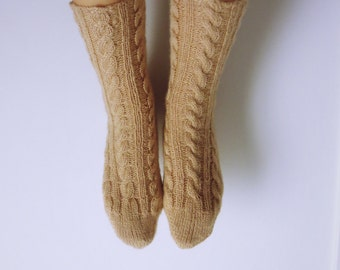 Hand knitted, beige,  40% Tiftik-Angora Goat Hair, 60 Acrylic women socks. Size 8-9.