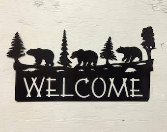 "Metal 3 Bear Welcome Sign 18"" x 9.5"""