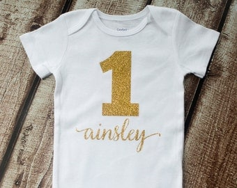 Personalized First Birthday, First Birthday, First Birthday Shirt, 1st Birthday Outfit, Glitter Birthday, Cursive Birthday Tutu, Princess