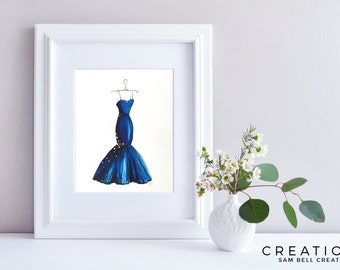 Fashion Illustration Original Watercolor Painting Art - Blue Dress Gown with Swarovskis - 210x297mm