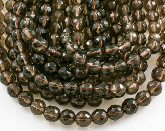 Natural Smokey Quartz Beads, Faceted Round, Full Strand 5mm, 6mm, 8mm, 10mm, or 12mm beads