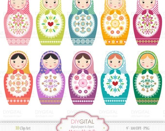 Matryoshka-Babushka-Russian Dolls Clip Art Set - 10 High Quality Printable Clip Arts for scrapbooking, invites, cards - PNG/300 DPI-