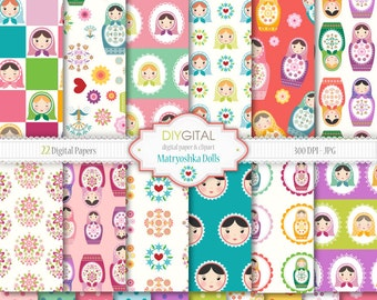 Matryoshka-Babushka-Russian Dolls Digital Paper Set - 22 High Quality Printable Digital Papers for scrapbooking, invites, cards -JPG/300 DPI