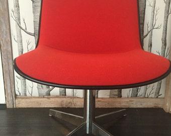 Retro Steelcase Chair Red Wool Vintage Seating
