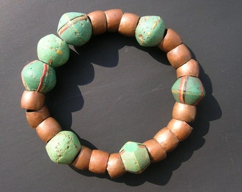 Bracelet made with old african glass and copper beads