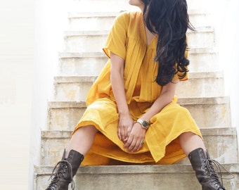 Yellow layered cotton dress