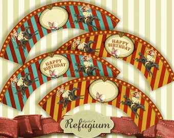 Cupcake Wrappers Circus Circus, Digital Collage Sheet, Instant Download