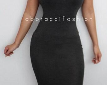 Charcoal Gray Strapless Bodycon Dress Midi Stretchy Elegant